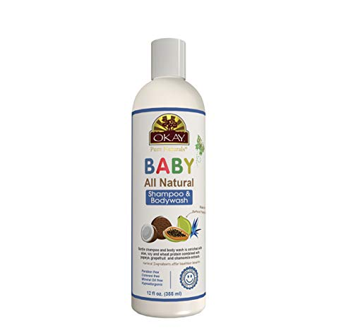 OKAY All Natural Baby Shampoo&Body Wash with Organic Ingredients Helps Gently Cleanse,Nourish,and Soften Baby's Skin And Hair Sulfate,Silicone,Paraben Free For All Skin&Hair Types Made in USA 12 oz