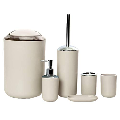 MisFox 6-Teiliges Badezimmer Set, Bad Set Accessoires Dekoratives Badzubehör mit Lotionspender, Mülleimer, Zahnbürstenhalter, Zahnputzbecher, Toilettenbürste & Seifenschale