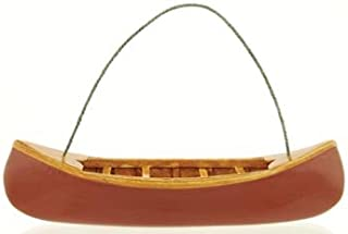 Wooden Canoe Model Figure, Collectible Ornament, 5-inch, Red or Green