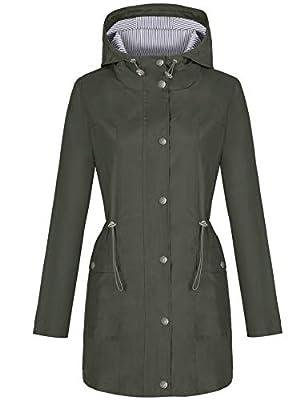 Bloggerlove Women Raincoat Waterproof Rain Jacket Long Hooded Windbreaker Lightweight Hiking Jackets Army Green X-Large