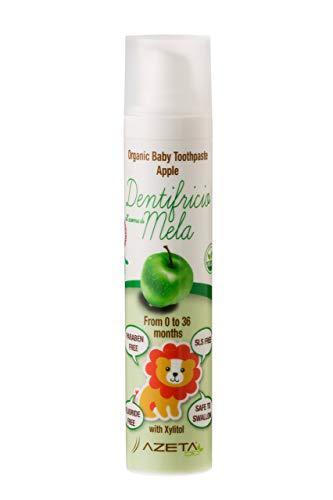 Organic Zahnpasta mit Apfelgeschmack - Baby 0-3 Jahre - ohne Fluorid - AZETABio - 50 ml …