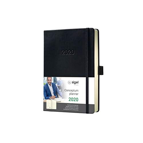 SIGEL C2015 Agenda semanal 2020 y cuaderno Conceptum, tapa dura, 10,8 x 15,1 cm, negro