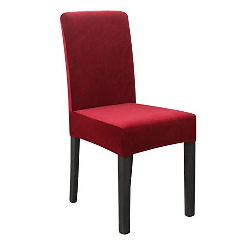 Hoes Stretch Eetkamerhoes Anti-vuil Banket Stoel fluweel Spandex Fox Pile Universele stoelhoes Housse de chaise D30, wijnrood, 6-delig pak