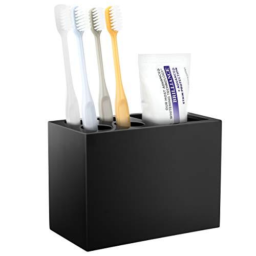 Luxspire Resin Toothbrush Holder 5 Slots Hygienic Handmade Toothbrush Storage Stand Dispenser Bathroom Organizer Set for Toothpaste Razor  Black