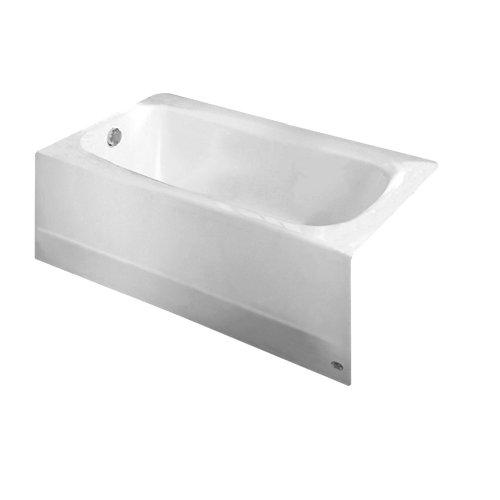 American Standard 2460102.020 Cambridge Procelain-Enameled Steel 60-In X 32-In Alcove Bathtub with Left Hand Drain, White
