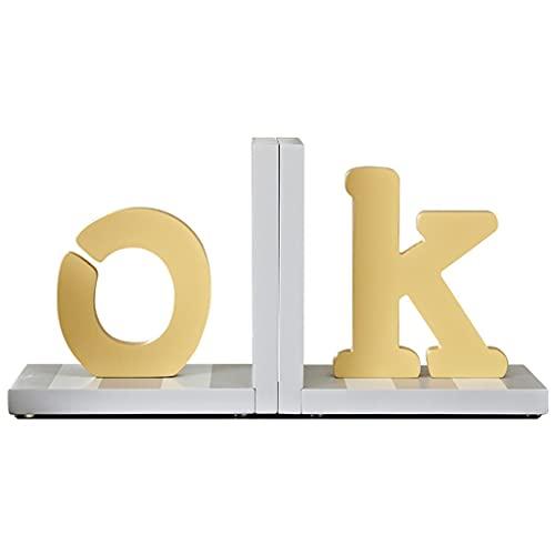 liushop Estatuas Alfabeto de Estilo Europeo Decoración de Escritorio Bookends Bookends Back Back Back's Room Bookshelf Ornaments Artesanía de Madera Accesorios Decoración del hogar