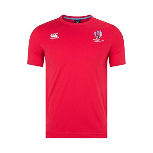 Canterbury Herren Offizielles Rugby World Cup 2019 Baumwolljersey T-Shirt, Flaggen-Rot, XS