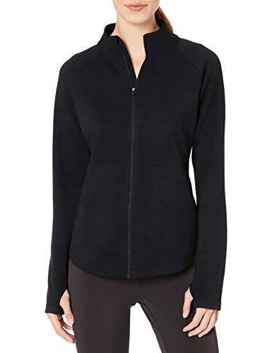 Amazon Essentials Damen Fleece Lined Full-zip Mockneck Jacket Fleecejacke, schwarz, L
