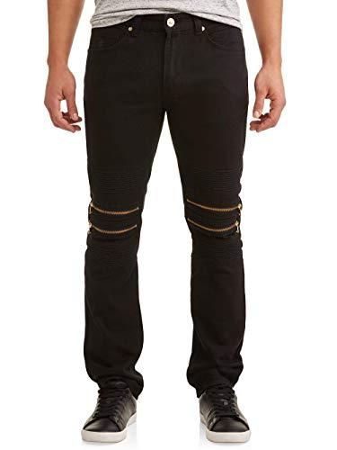 Rocawear Men's Double Zip Moto Tapered Premium Jean Pants with Zipper Design (Black) (W40 x L34)