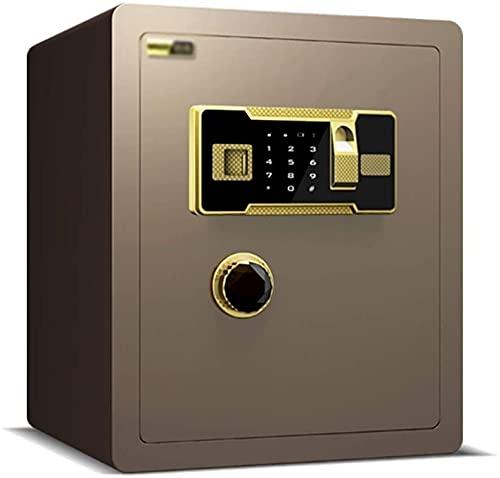 ZXNRTU Säkerhetsboxar för hemmet, Digital säker låda, säker för hem, tung säker med hög nivå av antitief funktionskontor fingeravtryck lösenord box stål säkert (Color : Brown, Size : 38 * 32 * 45cm)