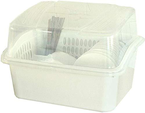 XXT Arts de la table Boîte de rangement supplémentaire Grande Armoire en plastique avec couvercle Cuisine égouttoir de vidange Vaisselle Boîte de rangement rack (Size : 34.2 * 26 * 29.6cm)