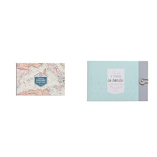 Mr. Wonderful Álbum De Viaje Vamos A Perdernos En Algún Lugar, Cartón, Rosa, 23X3.5X15 Cm + Álbum Con Mensaje