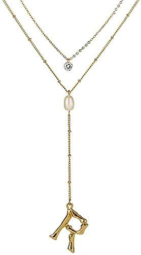 TTDAltd Collar Trendy Letter Beads Collar de Cadena Larga & Colgante Perla Cristal Redondo Collar de Doble Capa para Mujer Regalo de cumpleaños Regalo de joyería