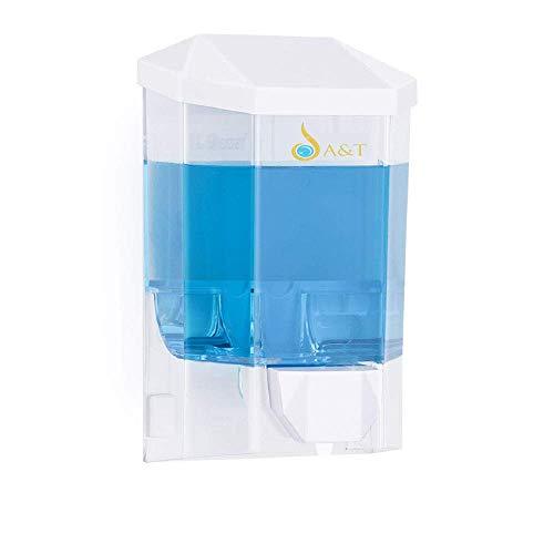 A&T Dispensador de jabón líquido para manos de 500 ml de capacidad, montado en la pared, ideal para uso doméstico y comercial.