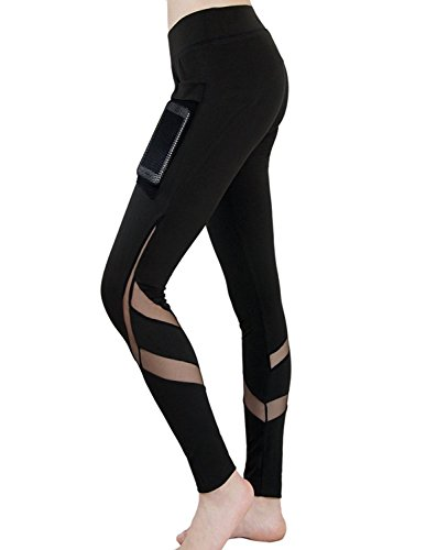 Maybest Women Sports Legging Patchwork Mesh Black Trousers Athletic Gym Workout Fitness Yoga Leggings Pants with Waistband Pocket Black US L