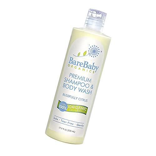 Organic Baby Shampoo & Body Wash with Aloe, Cucumber, Citrus Essential Oils – Safe, Gentle, Tear Free – Eczema Friendly – Paraben, Dye, Gluten, and Sulfate Free – 16 oz