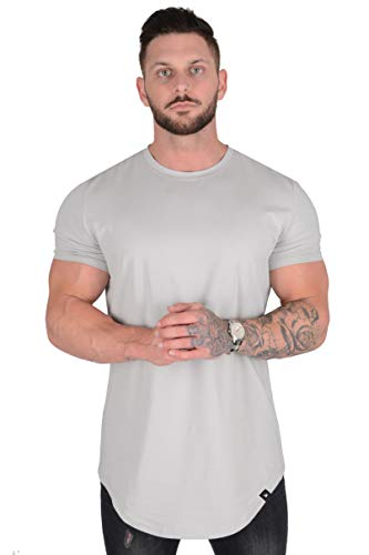 YoungLA Mens Designer Fitted T-Shirts Long Drop Cut Tee Workout Gym 402 Gry XXL Grey