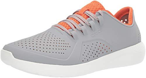 Crocs Herren Men's LiteRide Pacer Sneaker | Comfortable Tennis Shoes for Men Turnschuh, Hellgrau/Orange, 37 EU