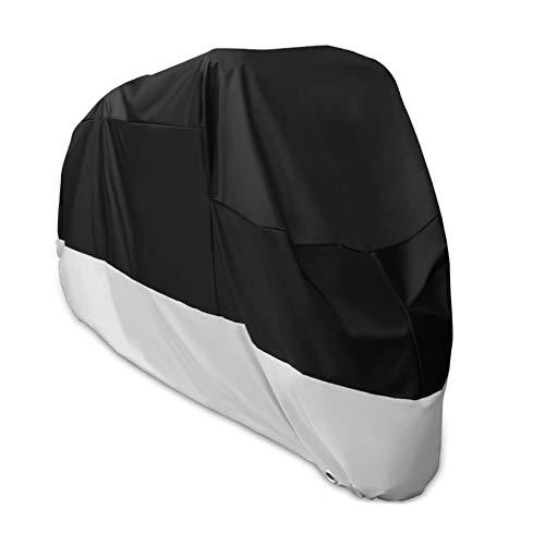 Alfheim Motorrad Abdeckplane - 210D Oxford Stoff wasserdicht atmungsaktiv Motorradhüllen mit 2 Verriegelungslöchern Diebstahlsicherung - Anti Staub Rost Regen Schnee UV für Honda,Yamaha,Suzuki (XXL)