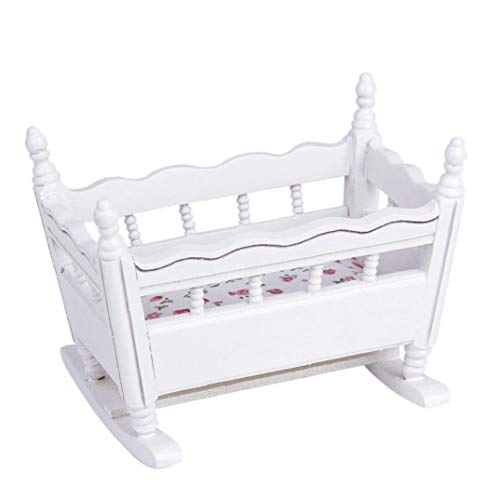 White Wooden Baby Cradle Doll Crib Crib Decoration Comfortable and Soft 1:12 Ratio one Pack