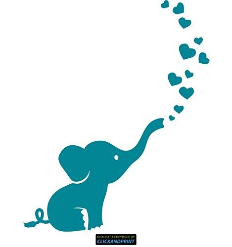CLICKANDPRINT Aufkleber » Baby Elefant, 10x8,1cm, Türkisblau • Dekoaufkleber/Autoaufkleber/Sticker/Decal/Vinyl