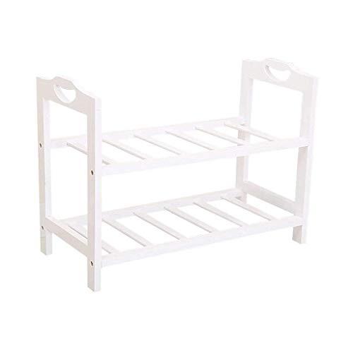 HLL - Scarpiera in legno massiccio bianco con mini scarpiera semplice per uso domestico, economia, piccolo spazio salvaspazio.