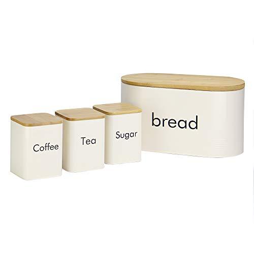 Küchenkanister Set | Tee, Kaffee, Zucker Kanister & Brotdose | Küchencontainer Set mit Bambusdeckeln | Vorratsbehälter für Lebensmittel | M&W (4 Teile)