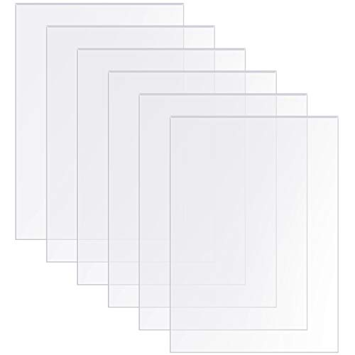 Transparent Acrylic Sheets 5 x 7 Inch Acrylic Panel for Picture Frame Glass Replacement Table Signs Calligraphy and Painting, 0.08 Inch Thick (6)