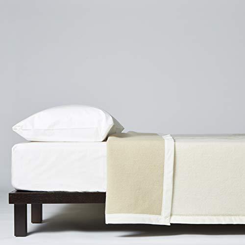 LANEROSSI Coperta Letto Matrimoniale Maxi Agata Plus, Coperta in 100% Lana Vergine, 230x270 cm, Bianco Polvere
