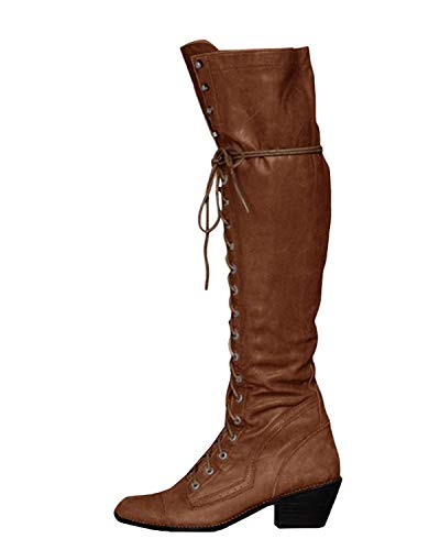 Minetom Damen Winterstiefel Overknees Stiefel Blockabsatz Stiefeletten Langschaft Mode PU Leder Schuhe Retro Niet Seitenreißverschluss Schnüren Boots Braun 39 EU
