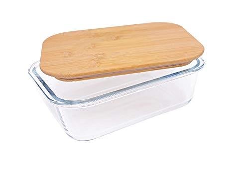 Steuber Glas Frischhaltedose mit Bambusdeckel, 1860 ml, rechteckig, Aufbewahrungsdose, Aufbewahrungsbox aus Glas, Brotzeitbox