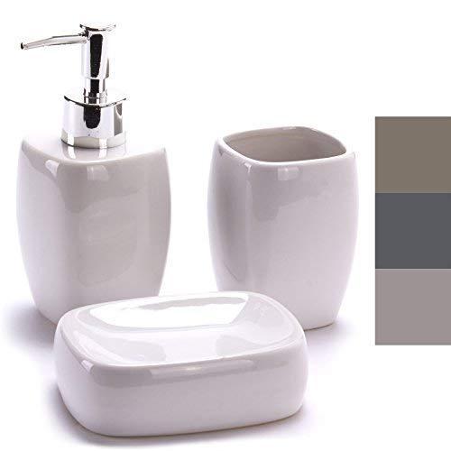 TP-Products - Set 3 contenitori in Ceramica per Il Bagno Portasaponetta, Dispenser e Bicchiere per Lo spazzolino
