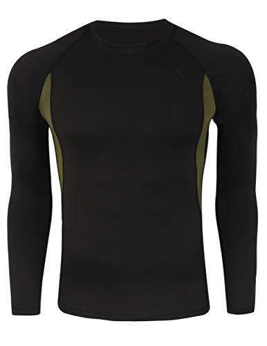 Camiseta Térmica Interior Transpirable Cómoda Manga Larga para Hombre #1 Negro L