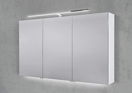 Intarbad ~ Spiegelschrank 120 cm mit LED Chrom Beleuchtung Doppelspiegeltüren Hacienda Schwarz IB1955
