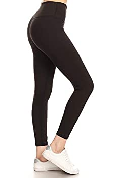 YL6-BLACK-M High Waisted 7/8 Leggings Workout Athletic Yoga Pants with Hidden Inner Pocket Medium