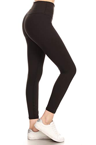 YL6-BLACK-1X High Waisted 7/8 Leggings Workout Athletic Yoga Pants with Hidden Inner Pocket, 1X