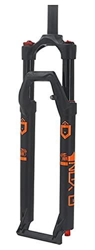Forcella ammortizzata per bici MTB 27,5 29 pollici, lega di magnesio 1-1 8 Forcella anteriore per bici telecomandata con tubo dritto 120mm(Color:Orange;Size:27.5 inch)
