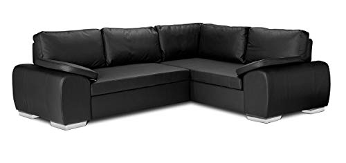 ENZO - CORNER SOFA BED WITH STORAGE - FAUX LEATHER - RIGHT HAND SIDE ORIENTATION (BLACK)