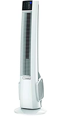 Lasko T38400 Electric Oscillating Hybrid Tower Fan with Timer and Remote Control for Indoor, Bedroom and Home Office Use, 38 Inch, White Black