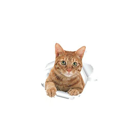WINOMO 3D Katzen Aufkleber 3D Katze Toilettensitz Wandaufkleber Removable Bad Decals Decor PVC Tapete Wohnkultur Applique Papiere Wandbild (14197)