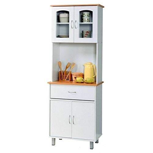 Manoch White Tall Kitchen Microwave Stand Utility Cabinet Storage Shelves Cupboard Door Material: MDF One Shelf within the Middle for Microwave Dimensions: 68 inches High 27 inches Wide x 16 inches Deep
