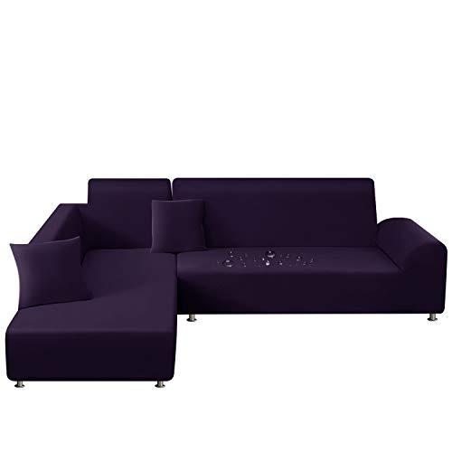 TAOCOCO Funda para sofá Funda elástica Impermeable para Juego de 2 en Forma de L con Funda de Almohada de 2 Piezas (3 plazas +3 plazas, Púrpura)