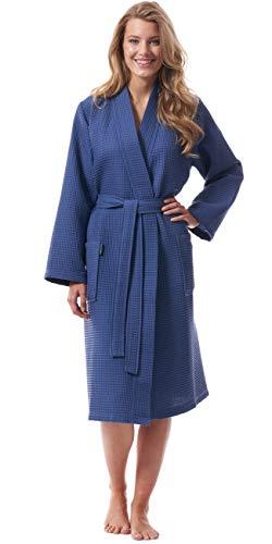 Morgenstern Bademantel für Damen aus Bio Baumwolle ohne Kapuze in Blau Kimono Bademantel lang Baumwoll Bademantel Waffelpique Größe XL Paula