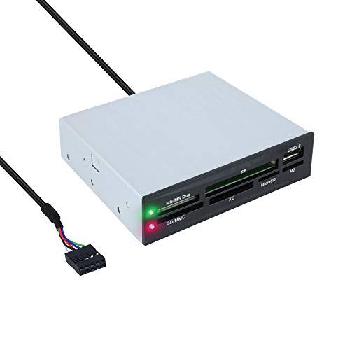 Tooq TQR-208B - Lector Interno de Tarjetas de Memoria (CF, MS, SD, SDXC, microSDXC, X-Memory, TF (Micro SD) y M2), 3.5  , USB 2.0, Color Negro, chasis metalico, 480Mbps.