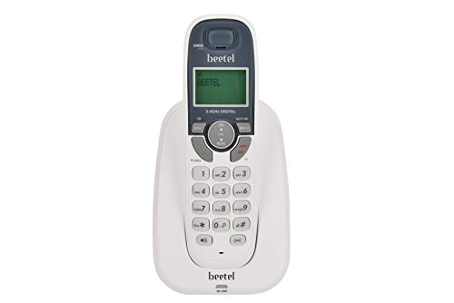 Beetel X70 Cordless 2.4Ghz Landline Phone with Caller ID Display, 2-Way Speaker Phone, Handset Locator, Low Battery and in-Use LED, Stores 50 Contacts, Mute & Flash Function (White)(X70)