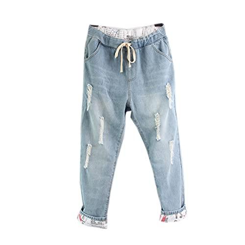 WAEKQIANG Nuevos Pantalones Vaqueros Rasgados De Moda para Mujer Pantalones Harem Sueltos para Mujer