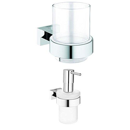 GROHE Essentials Cube | Badaccessoires - Glas mit Halter | 40755001 + GROHE Essentials | Badaccessoires - Seifenspender | mit Halter | 40756001