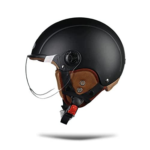 LIONCIANO Cascos De Motocicleta para Hombres y Mujeres, Cascos De Ciclomotor con Visera Reflectante, Que Protege La Seguridad Vial De Los Usuarios(Negro Mate, Lente Transparente) ✅