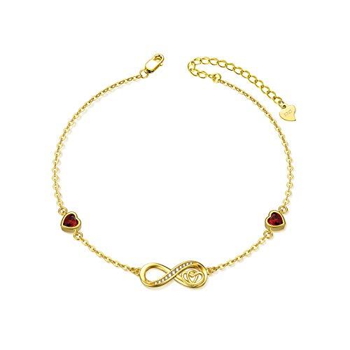SOULMEET Tobillera de plata de ley 925 con forma de corazón infinito para mujer, pulsera grande, símbolo de amor infinito, ajustable, regalo para su cumpleaños o aniversario