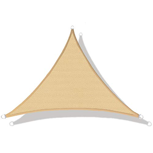 LOVE STORY Voile d'ombrage (HDPE) Triangulaire 3 x 3 x 4.25m Sable Protection des Rayons UV pour Terrasse Camping Extérieur Jardin